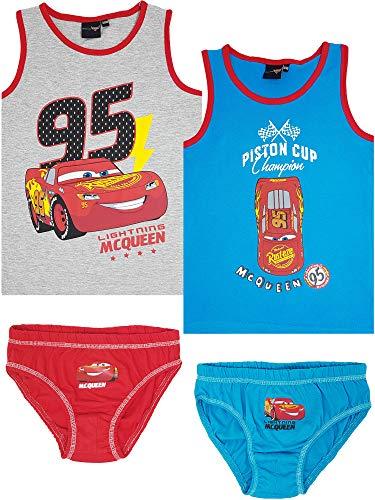Disney Cars - 4-TLG. Jungen Unterwäsche-Set (122/128 (Herstellergröße 6-7 Jahre))
