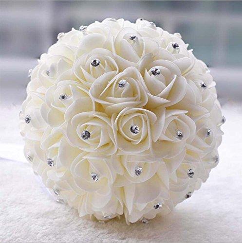 Petit cadeau de mariage bouquet de mariée rouge style perle ( Color : Milk white )
