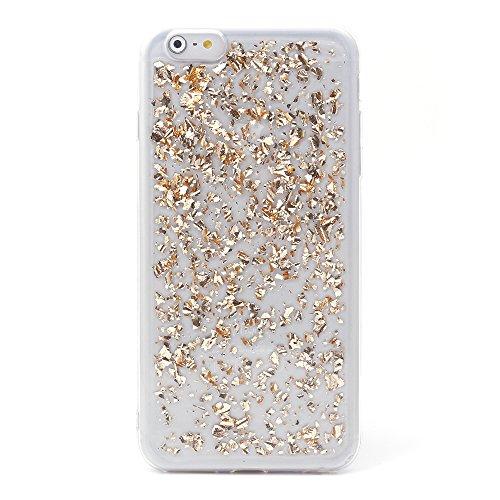 "iProtect Apple iPhone 6, 6s (4,7"") biegsame TPU Soft Case Hülle Glitzer Pailletten Design in Silber IP6 Design Champagne Gold"