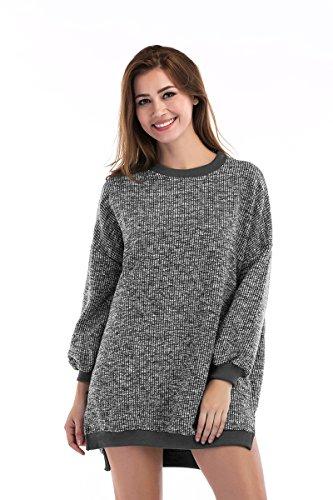 COIN Warmer Pullover aus grobem Strick, Damen Leger geschnittener Long-Strickpullover mit Schlitzen, 2 Farbe, One Size