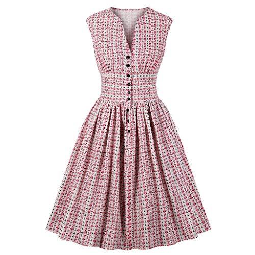 Loveso 1950er Vintage Retro Rockabilly Kleid Cocktailkleider Blumenmuster V-Ausschnitt Faltenrock...