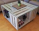 Tisch aus Weinkisten auf Rollen mit Glasplatte vintage weiß Couchtisch Shabby Chic Wonzimmertisch aus Obstkisten Apfelkisten Holzkisten