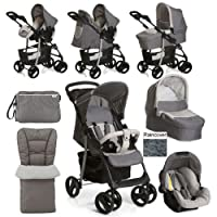 New Hauck Shopper SLX Trio 3in1 Travel System Pram Pushchair Set Including Changing Bag Cosytoes Raincover Stone/Grey