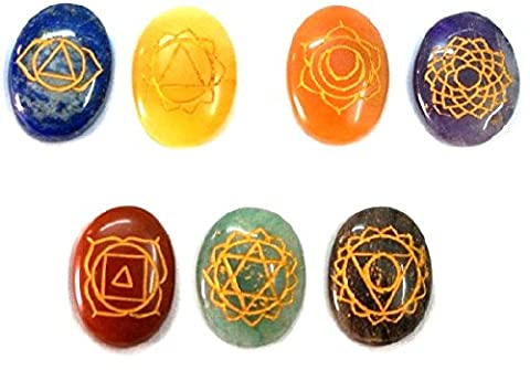 Healing Crystals India: Special Natural Gemstone 7 Chakra Srt Reiki Energy Charged Set Including Beautifully Gift Wrapped (Oval Egg Shape) by Healing Crystals India
