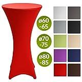 Beautissu Stretch Stehtisch Husse Stella für Bistrotisch Ø 60-65 cm Elegante Stretch-Husse Rot als Tisch-Überzug