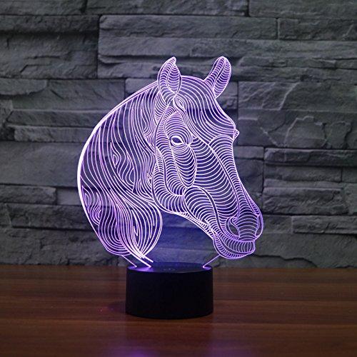 Illusion 3D LICHT–toproad LED-Nachtlicht 3D Tisch/Schreibtisch Lampe Schlafzimmer Deco Art Skulptur Wechselhafte Licht-(animalpack 16-verschiedenen Mustern erhältlich), Pferd (Deco-schreibtisch-lampe)