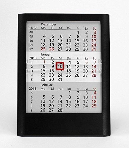 HiCuCo 3-Monats-Tischkalender für 3 Jahre (2019, 2020 und 2021) - Aufstellkalender - schwarz - TypW1