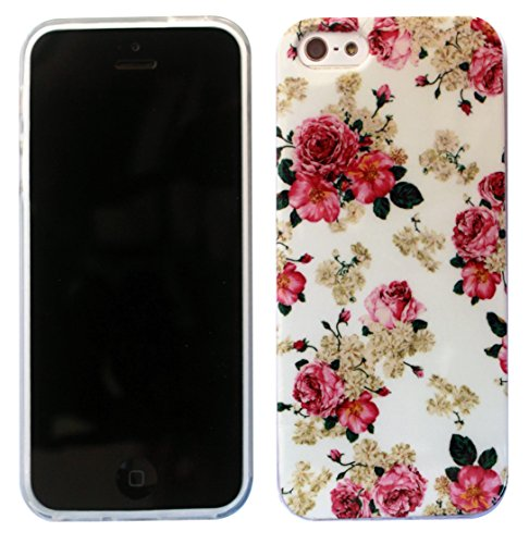 2D- iphone 5C Vinatage Shabby Chic Floral Fleurs Design Fashion Trend Cover Coque Case-SILICONE GEL RUBBER COQUE