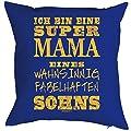 Kissen mit Füllung ich bin eine super Mama eines…Sohns Weihnachtsgeschenk für Mama Geschenk für die Mutter Polster Sofakissen Couchkissen von Goodman Design - Gartenmöbel von Du und Dein Garten