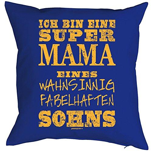 Kissenbezug ich bin eine super Mama eines wahsinnig fabelhaften Sohns Weihnachtsgeschenk für Mama Geschenk für die Mutter Polster Sofakissen Couchkissen (Mega-mutter)