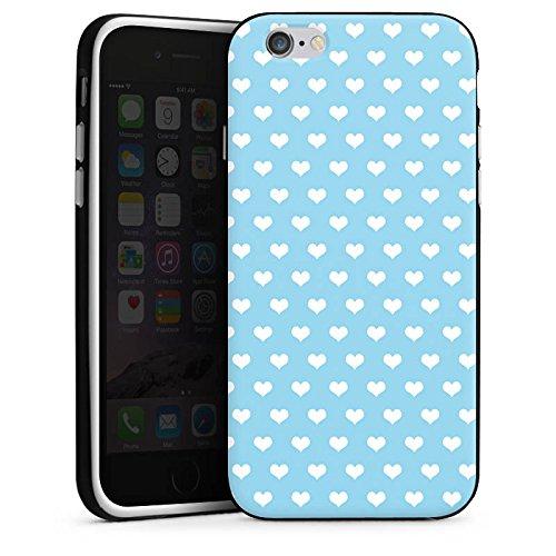 Apple iPhone X Silikon Hülle Case Schutzhülle Herzen Hellblau Muster Silikon Case schwarz / weiß