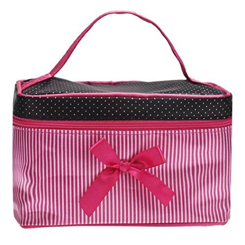 LCLrute Fashion Travel Kosmetiktasche Square Bow Streifen Kosmetiktasche (Pink) (Kosmetiktasche Handtasche Bow)
