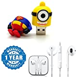 #6: Captcha Cartoon Super Hero 100% real 8GB USB Pen Drive in Batman, hulk, spider-man, captain America, Minions Design With Earpod With Remote And Mic Wired Headset Compatible with Xiaomi, Lenovo, Apple, Samsung, Sony, Oppo, Gionee, Vivo Smartphones (1 Year Warranty)