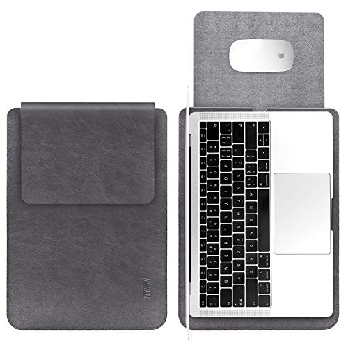 Laptop Hülle 15 zoll Tasche, TECOOL Laptop Sleeve Wasserdichte Notebooktasche Kunstleder Schutzhülle für MacBook Pro 15,4 Retina A1398, MacBook Pro 15 Touch Bar A1707 / A1990, Dell XPS 15 -Dunkle Grau
