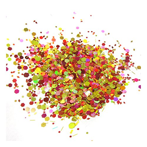 Beads4crafts GLITTER CHUNKY MIXED FACE EYE FESTIVAL COSMETIC BODY SAFE DANCE PARTY CLUB  Red Sun 33  5 Grams