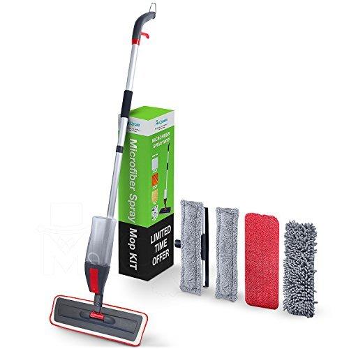 Mr.Cleann Balai Serpillère Mop Vaporisateur - 3 en 1 avec Réservoir d'Eau de 600 ml | 2 Pads Microfibre pour Parquets, Sols laminés, Vinyls | 1 Pad pour Lavage à Sec | 2 Pads Raclette pour Vitres