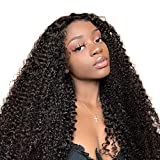 Lace Wig Cheveux Naturels Brésilienne Bouclée 100% Real Brazilian Human Hair Kinky Curly Hair Glueless Top Swiss Lace Front Wig Naturel Noir 16 pocues