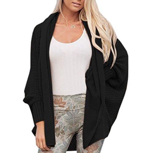 Autunno Donna Casual Elegante Cardigan in Maglia Manica a pipistrello Sweater Cappotto Maglieria lunghe Coat Top Nero