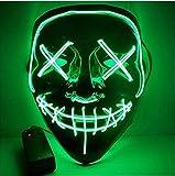 Kaliwa Maschera LED Halloween Maschera - Divertente Maschere con 3 modalità Flash Illuminano al Buio per Halloween Carnevale Festa Costume Cosplay Decorazione (Verde)