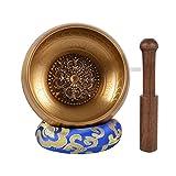 La meditazione tibetano Singing Bowl con speciale acquaforte e etnico case. Per rilassamento, guarigione & Mindfulness 12 X 12 X 7 cm Bronze