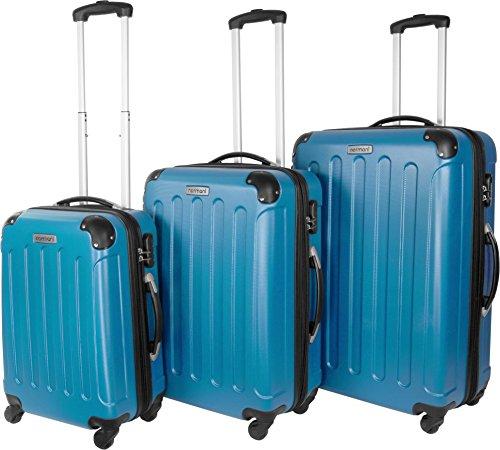 Farbauswahl!! 3 tlg. Reisekofferset Koffer Kofferset Trolley Trolleys Hartschale Farbe Hellblau