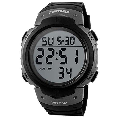 Sport Herren Digital Led-Anzeige Kalender Alarm Groß Zifferblatt Leuchtend Stoppuhr Armbanduhr Grau
