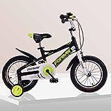 Kind Fahrräder Kinderwagen Räder 14 16 Zoll Aluminiumlegierung Rahmen Kinderwagen 3-5-8 Jahre Alt Kinder Fahrrad (Farbe : Black+Yellow, Größe : 14 inch)