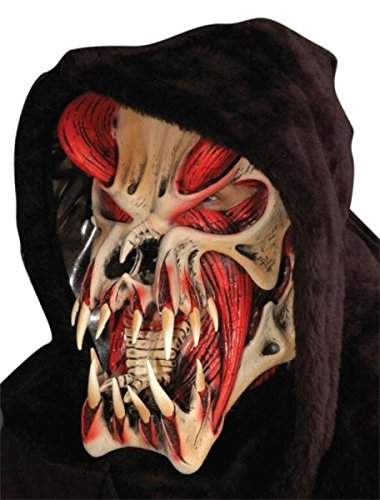 Predator Red Maske Halloween Kostueme Maske Gesicht Maske Over-the-Head-Maske Kostuem Stuetze Scary Creepy Schreckliche Maske Latex Maske fuer Maskerade Make-up Party (Halloween-maske Predator)