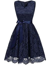 c7d7a7fa781d2e IVNIS Damen Floral Spitze Brautjungfern Kleid Knielang V Ausschnitt  Cocktail Partykleid Abendkleider