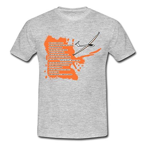 Spreadshirt Segelflieger Segelflugzeug Segelflug Segelfliegen Männer T-Shirt, L, Grau Meliert