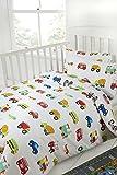 Novelux Kinderbettbezug, 100% Baumwolle, Fadendichte 200, Motiv: Autos/LKW/Flugzeuge/Züge, 100 % Baumwolle, weiß, Cot Duvet Cover 100x135cm + 1 Pillowcase 42x60cm