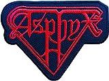 ASPHYX rot & blau bestickt Badge Patch zum Aufnähen oder Aufbügeln auf 10cm x 7,5cm