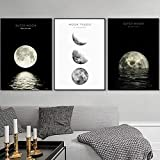 N/A zszyPictures Home Nordic Style Moon Wall Artwork Posters Painting On Canvas Artwork Living Room Decoration-50x70cmx3 pcs no frame
