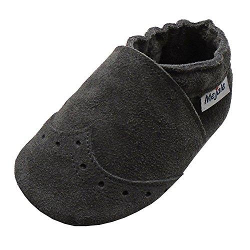Mejale Weiche Sohle Leder Babyschuhe Lauflernschuhe Krabbelschuhe Kleinkind Kinderschuhe Hausschuhe (21/22 EU/14 cm Sohle, Grau) (Kleinkind Leder Sohle Schuhe)