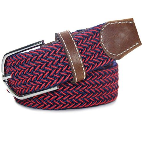 QHGstore 120cm Mix caoutchouc couleur Stretch Ceinture en alliage Ardillon tissé ceinture pour hommes / femmes J03 J07