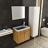 Waschtischunterschrank Gäste WC Set mit Waschbecken aus Mineralguss Unterschrank mit Softclose-Funktion
