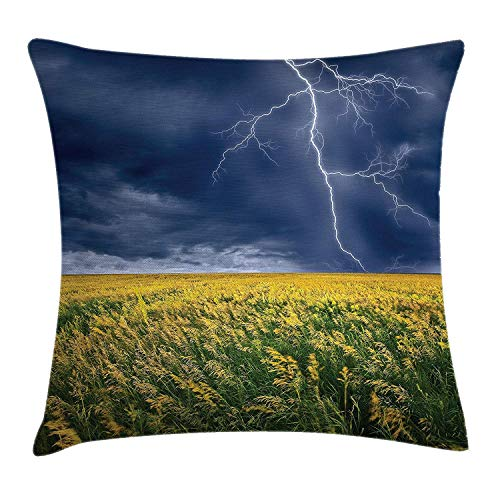 Nature Throw Pillow Cushion Cover, Lightning Bolt Above The Seasonal Field Electric Vibes Rural Scenery Theme Image, Decorative Square Accent Pillow Case, 18 X 18 inches, Yellow Blue