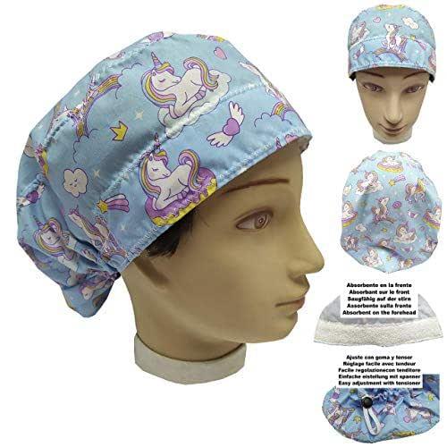 Cappello da infermiera UNICORNIE per donna Capelli Lunghi, Sala operatoria Dentista, Veterinaria, Cucina, Asciugamano davanti, regolabile sul retro, adatta a tutti i capelli