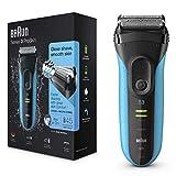 Braun Series3 ProSkin 3040s - Afeitadora eléctrica para hombre, máquina de afeitar barba inalámbrica y recargable, Wet&Dry, negro/azul