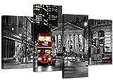 Las impresiones de la lona de una Red de Londres autobús de noche en un fondo de Blanco y Negro para su sala de estar - Arte barato 4 Parte británica pared de la ciudad - 4208 - Wallfillers®