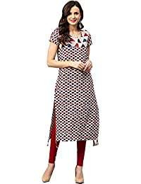 TheUrbanStreet Multicolored Women's Cotton Printed Straight Kurti