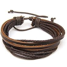 Interesting® Unisex Muñequera de cuero ajustable y cuerda Pulsera para el brazo