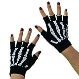 Halbfinger-Handschuhe / Handwärmer, Punk / Gothic, Skelett, Schwarz
