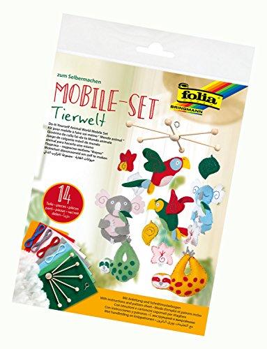 folia 22859 - Mobile Set Tierwelt zum Selbermachen, mit 14 Teilen, Anleitung und Schnittmusterbogen - Komplettset zur Erstellung eines Mobiles Set Mobile