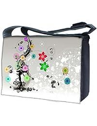 Luxburg® design uk-nb-sb-19696–17–01–13Sac Messager pour Ordinateur portable 17avec bandoulière–plante avec fleurs colorées