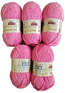 5 x 100 Gramm Babywolle 80309 rosa, 500 Gramm Wolle Super Bulky zum Stricken und Häkeln