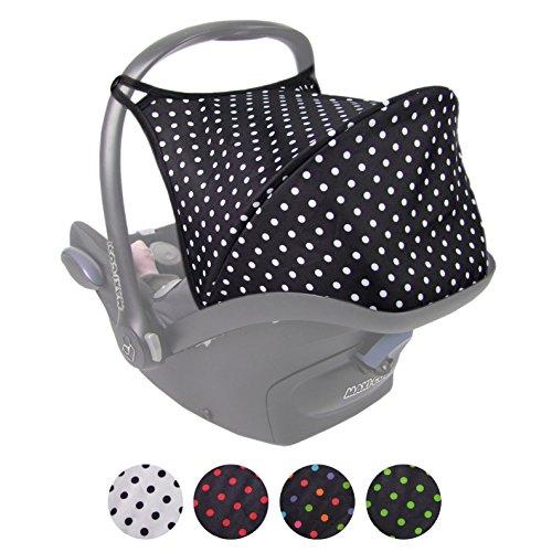 BAMBINIWELT Sonnenverdeck UV50+ für Maxi-Cosi Cabriofix, Sonnendach Babyschale, Autositz PUNKTE (schwarz - weiße Punkte)