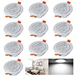 AUROX 10x 5W Bathroom LED GU10 Recessed Ceiling Lights Downlights SpotLights Lamp Angle orientable Lamp Daylight White 4000K 480Lm 40W Incandescent Bulb Equivalent for Living Room Kitchen Polished Chrome