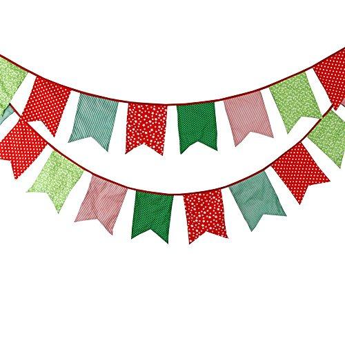 Banderines de tela de algodón, 3,5m Floral doble cara Olsson con 12banderas para ceremonias cumpleaños Decoración