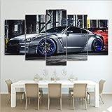 QJXX Impressions sur Toile Mur Art Image 5 Panneaux Cool Voiture De Sport Giclee Peintures pour Salon Décor À La Maison (sans Cadre),A